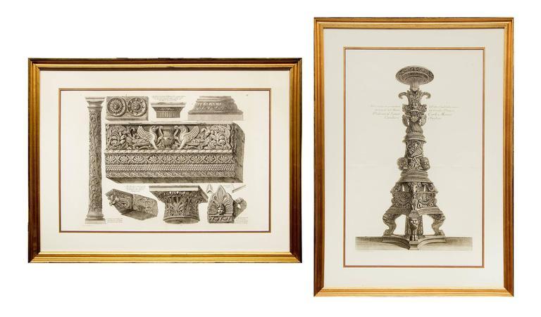 Giovanni Battista Piranesi Still-Life Print - Pair of Etchings: Ornamental Frieze & Ancient Candelabra