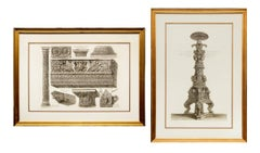 Pair of 19th Century Etchings: Ornamental Frieze & Ancient Candelabra