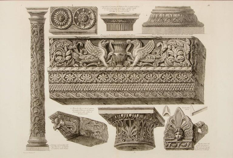 Pair of Etchings: Ornamental Frieze & Ancient Candelabra - Print by Giovanni Battista Piranesi