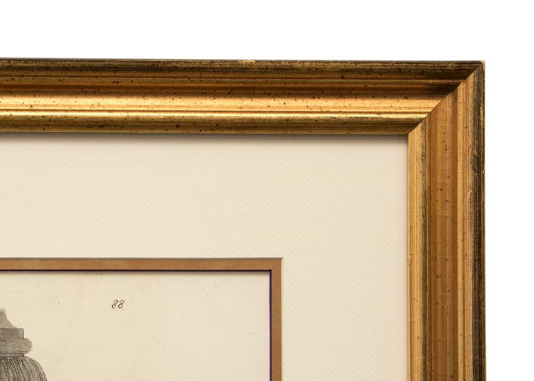 Collection of two etchings by Giovanni Battista Piranesi housed in gold frames.  Left: Giovanni Battista Piranesi, Ornamental Frieze, 19th century signed lower left etching framed dimensions measure 27.5 x 37 x 1.75 inches image dimensions
