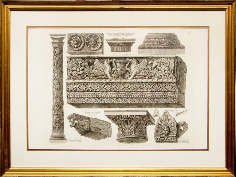 Pair of Etchings: Ornamental Frieze & Ancient Candelabra - Beige Still-Life Print by Giovanni Battista Piranesi