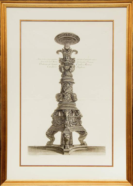 Pair of Etchings: Ornamental Frieze & Ancient Candelabra For Sale 3
