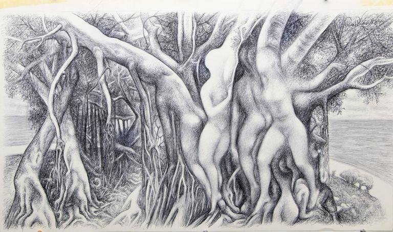 Figure Within Trees - Art by Ross Eugene Braught