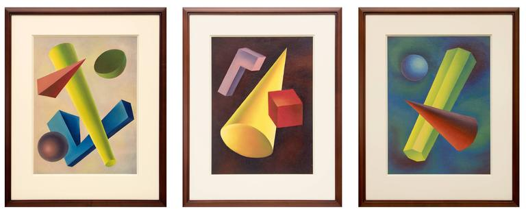 Basic Form Problems (Group of 3 Abstract Paintings) For Sale 1