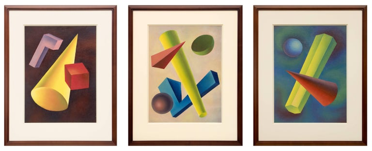 A Collection of 3 vintage circa 1940 Transcendentalist oil paintings by New Mexico artist, Ralph Anderson.  Each is housed in a custom hardwood frame with all archival materials.  The overall dimensions of the group as shown measure 28 ¼ x 71 ½ x 1