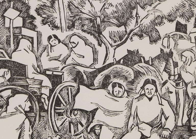 Saturday Morning (Market, Taos Plaza, New Mexico) - American Modern Print by Barbara Latham