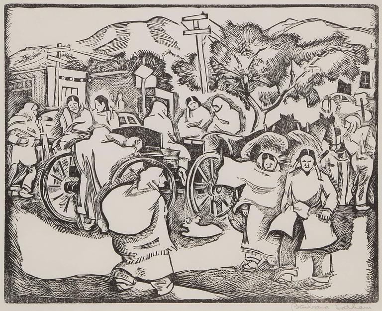 Barbara Latham Figurative Print - Saturday Morning (Market, Taos Plaza, New Mexico)