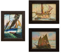 Group of Three Maritime/Sailboat Oil Paintings