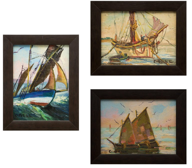 Caroline Bell - Group of Three Maritime/Sailboat Oil Paintings 1