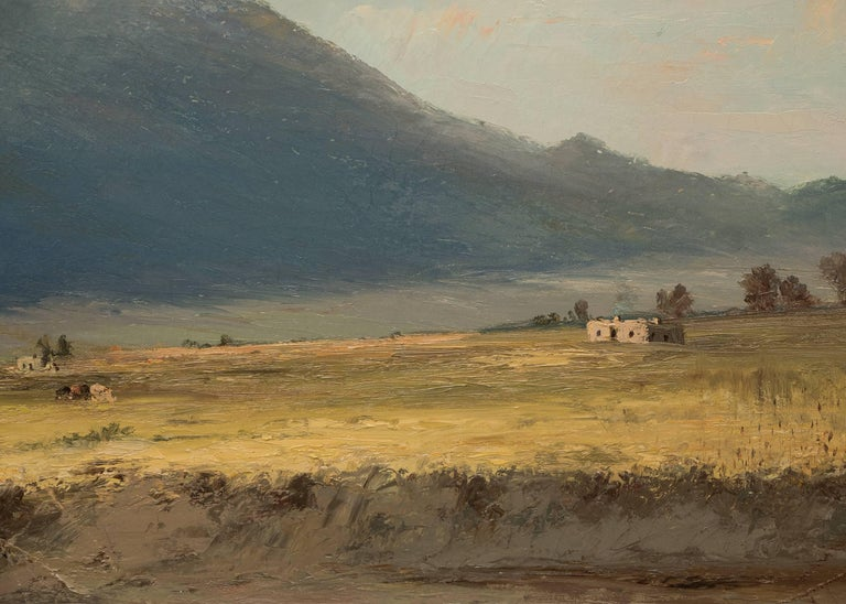 Housed in a period (original) frame, outer dimensions measure 35 ½ x 47 inches.  Canvas size is 26 x 38 inches. William H.M. Cox was a portrait and landscape painter.  He painted portraits of well-known Colorado pioneers and probably the first