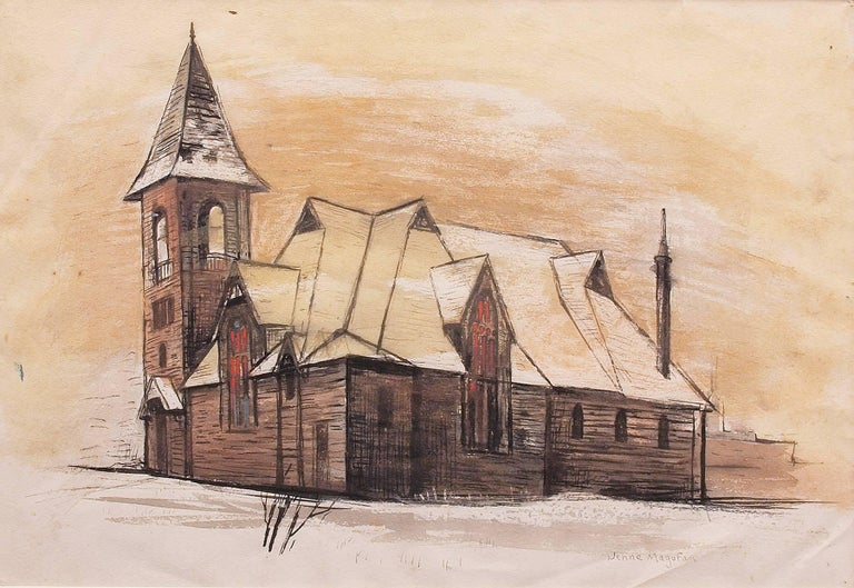 Church in Leadville (Colorado) - Painting by Jenne Magafan