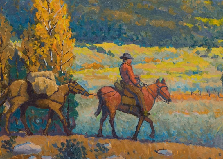 An original oil painting by Colorado artist, Harold Skene, with a cowboy on horseback set in a traditional western mountain landscape.  Presented in a custom frame, outer dimensions measure 29 ¼ x 35 x 1 ¼ inches.  Image size is 24 ¼ x 30 inches.  A