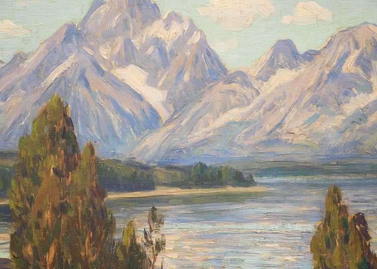 Untitled (Jackson Lake and Grand Tetons) - Brown Landscape Painting by Eliot Clark