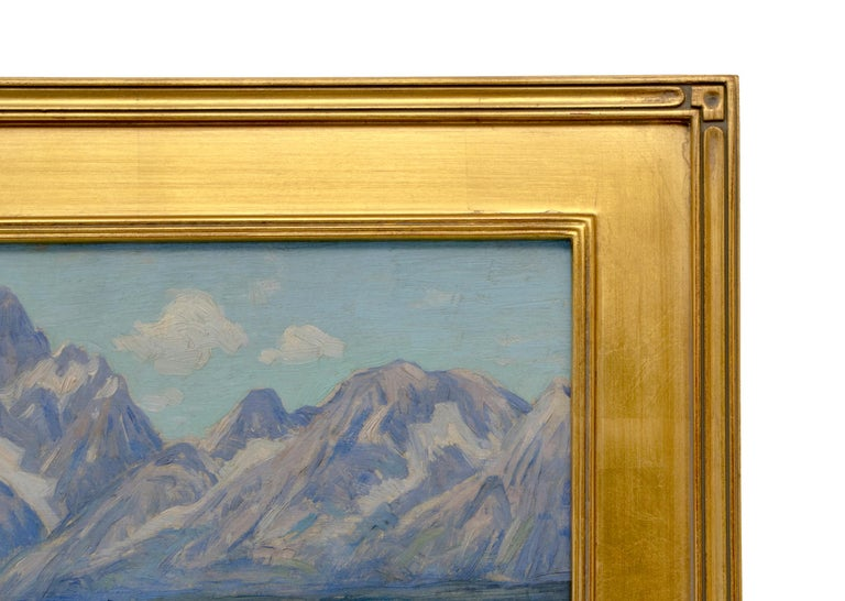 An original oil painting by late American Impressionist, Eliot C. Clark featuring Jackson Lake and the peaks of the Grand Tetons in Wyoming.   Oil on board. Housed in a custom frame measuring 19.5 x 23.5 x 1.25. Image measures 14 x 18 inches.