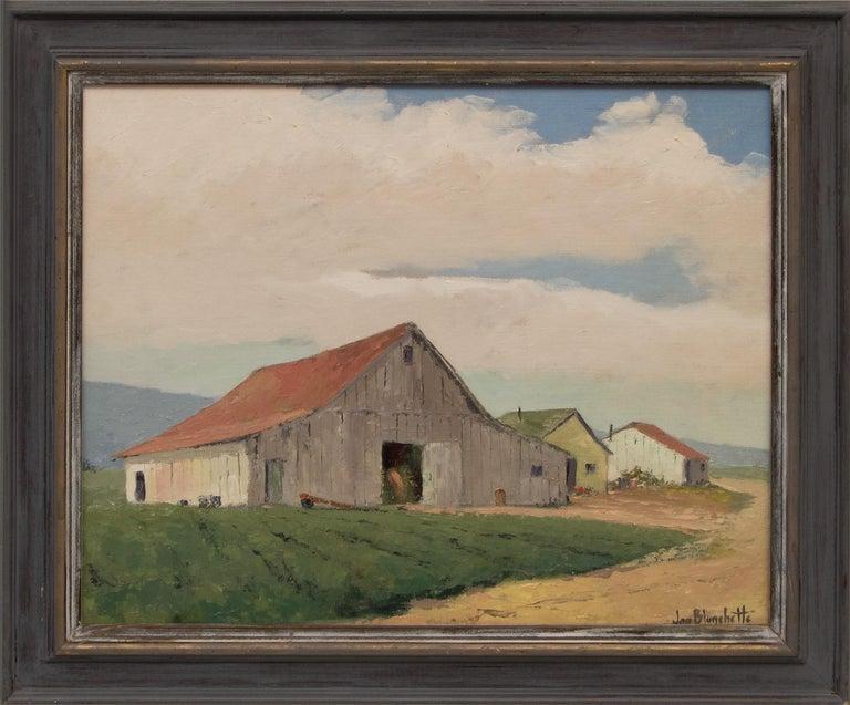 Jon Blanchette Landscape Painting - Untitled (White Barn, Southern California)