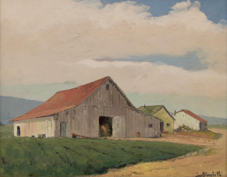 Untitled (White Barn, Southern California) - Painting by Jon Blanchette