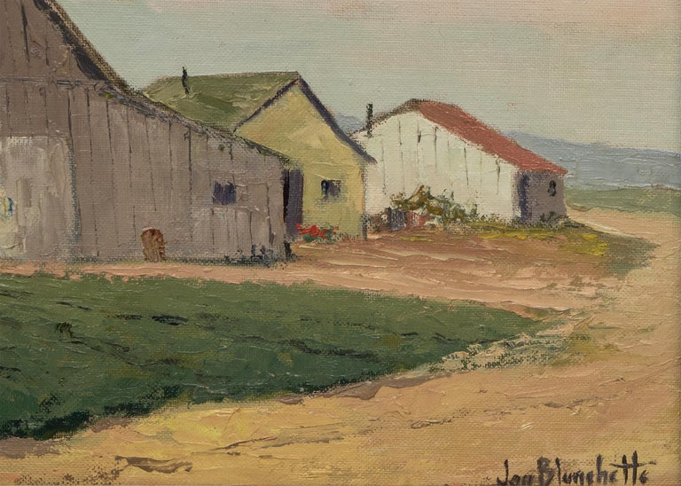 Untitled (White Barn, Southern California) - American Impressionist Painting by Jon Blanchette
