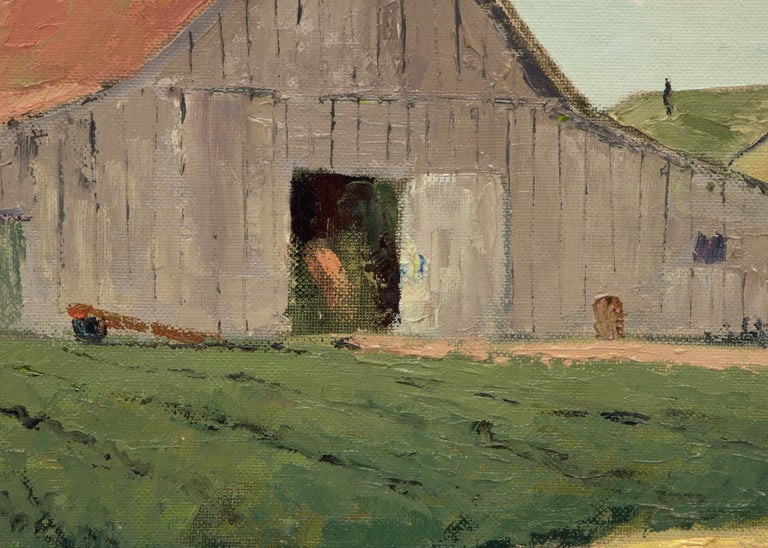 Untitled (White Barn, Southern California) - Brown Landscape Painting by Jon Blanchette