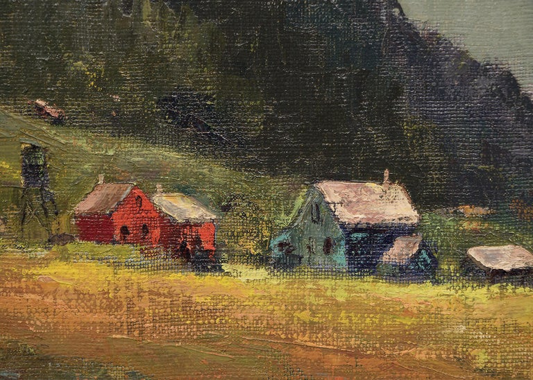 A farm and mountains in West Mendocino, California, an original oil painting by Jon Blanchette.  Image size within the frame is 20 x 24 inches.  Jon Blanchette moved to Southern California in the 1930s and settled permanently in Santa Cruz in the