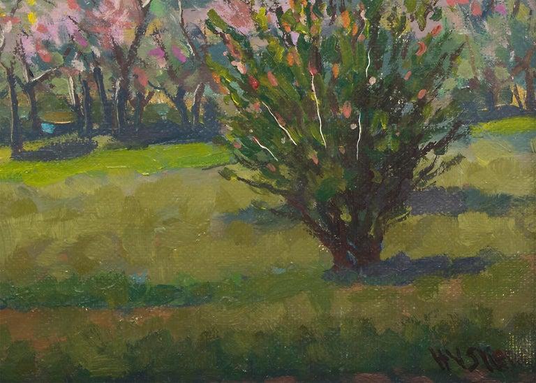 Peach Blossoms - American Realist Painting by Harold Skene