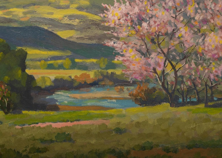Peach Blossoms - Black Landscape Painting by Harold Skene
