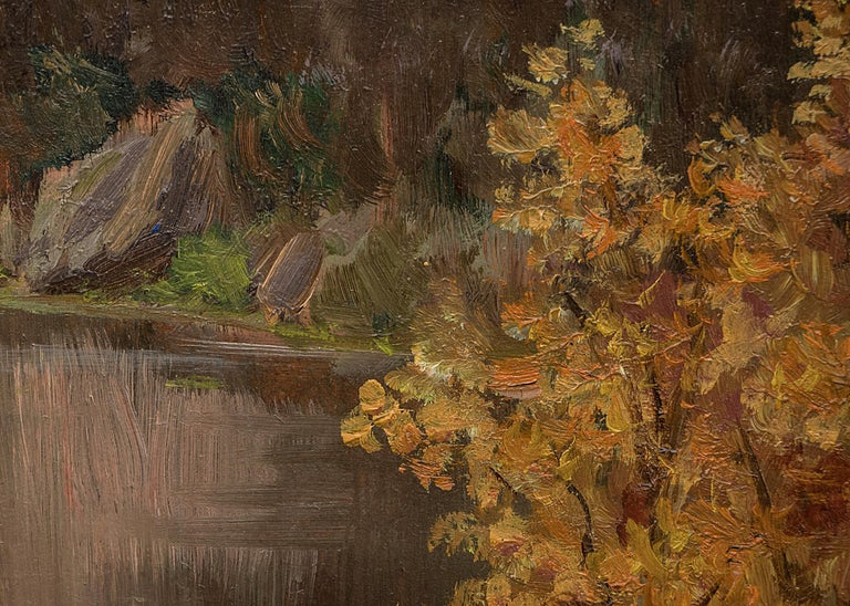 Untitled (Mountain Lake in Autumn) - Brown Landscape Painting by Raphael Lillywhite