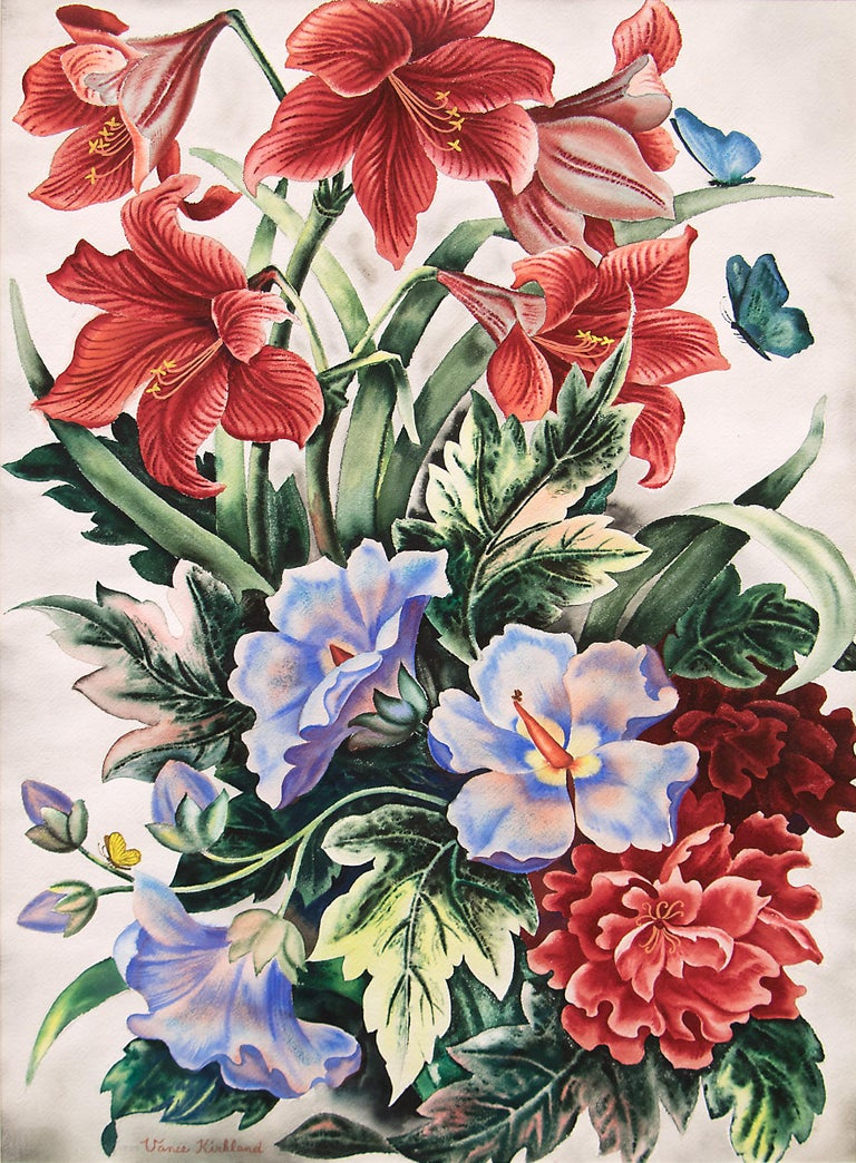 Untitled (Still Life with Flowers and Butterflies) - Painting by Vance Kirkland