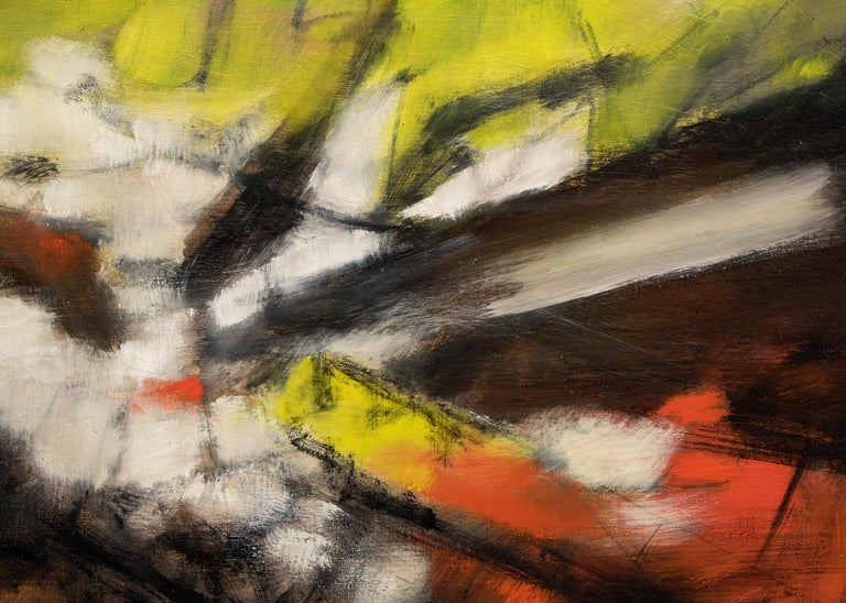 Along the Way - Black Abstract Painting by Watson Bidwell