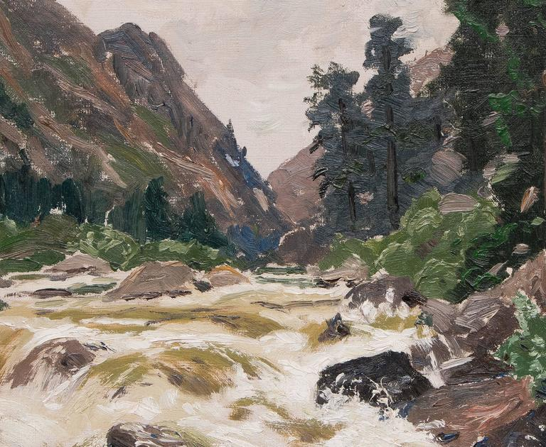 Untitled (Colorado River) - Brown Landscape Painting by Charles Partridge Adams