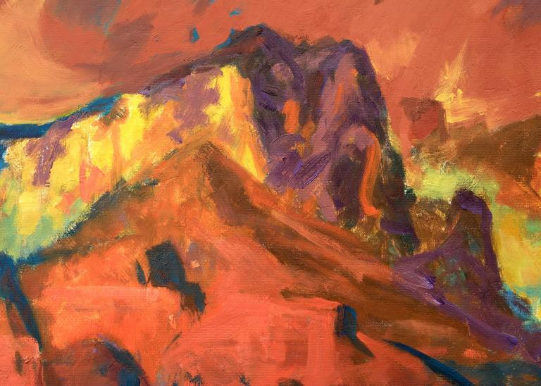 Oak Creek Canyon is a river gorge located along the Mogollon Rim in northern Arizona between the cities of Flagstaff and Sedona.  Housed in a custom hardwood frame.  Outer dimensions measure 27 ½ x 33 ½ x 1 ½ inches.  Image measures 22 x 27 ¾