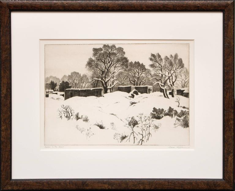 Gene Kloss Landscape Print - Adobes in the Snow (New Mexico); edition of 75