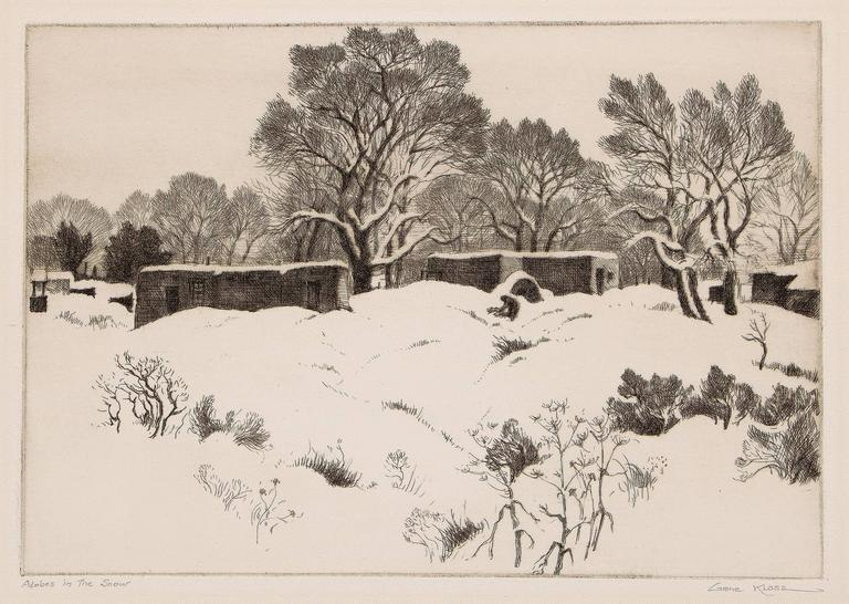 Adobes in the Snow (New Mexico); edition of 75 - Print by Gene Kloss