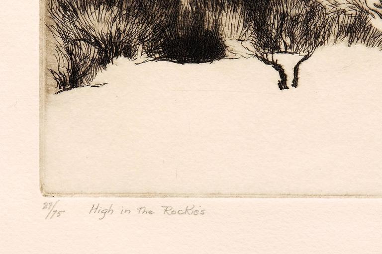 High in the Rockies - Beige Landscape Print by Gene Kloss