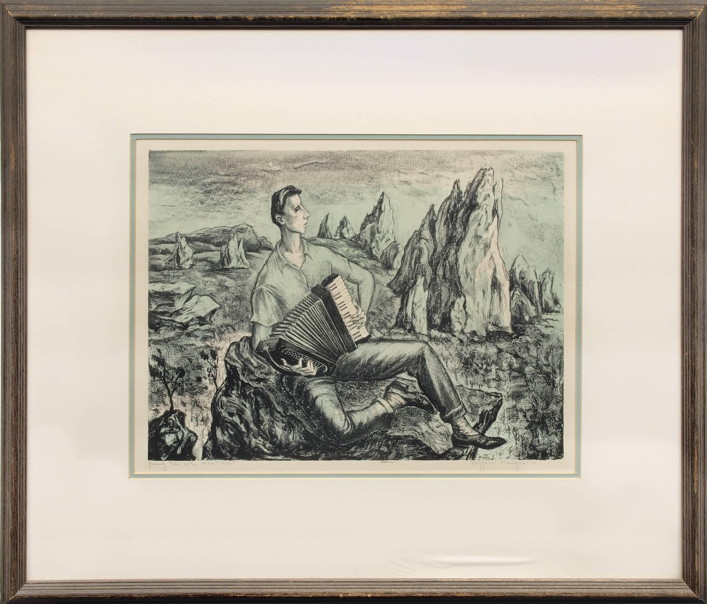 Young Man Who Went West WPA Era Modernist Colorado Landscape, Black, Blue, White