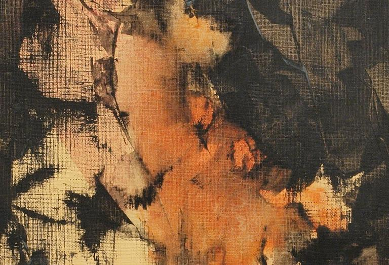 Untitled (Abstract Expressionist Composition) - Brown Abstract Painting by Charles Ragland Bunnell
