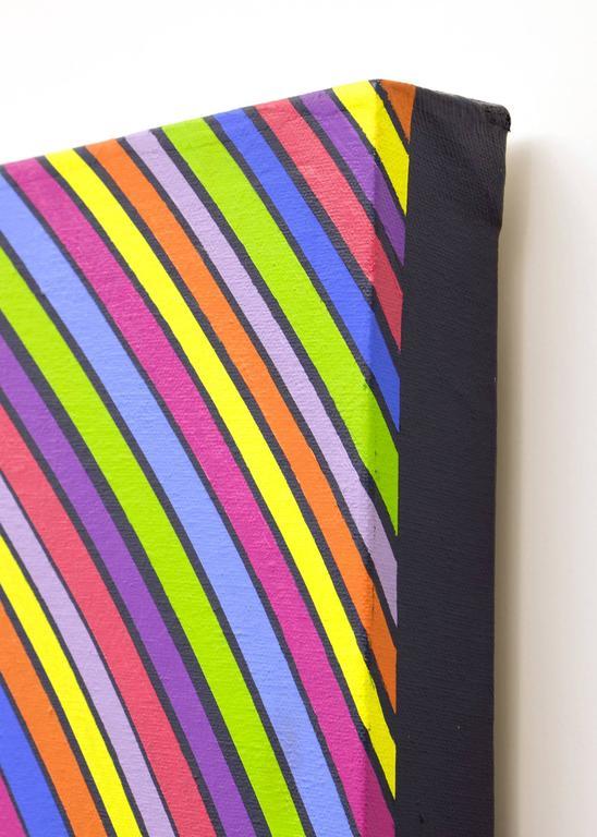 Stripes in Motion - Op Art Painting by Edward Goldman