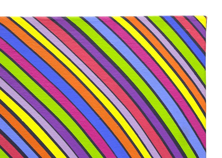 Stripes in Motion - Purple Painting by Edward Goldman