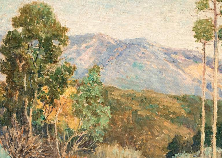 A mountain trail in California.  Housed in a gold leaf frame; outer dimensions measure 11.25 x 13.25 x 1.25 inches.  Image measures 8 x 9.75 inches.