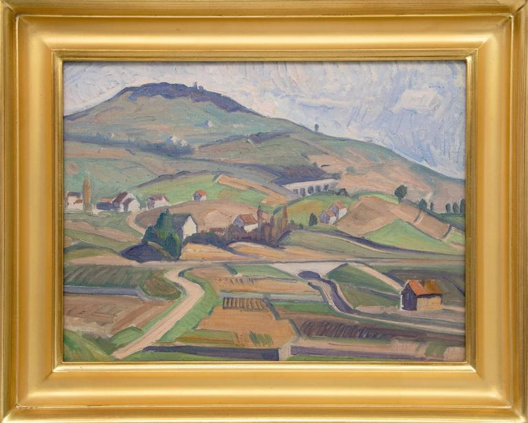Carl Lindin Landscape Painting - Untitled (Village, Switzerland/France Border)