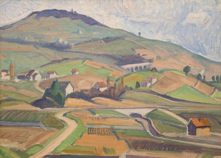 Untitled (Village, Switzerland/France Border) - Painting by Carl Lindin