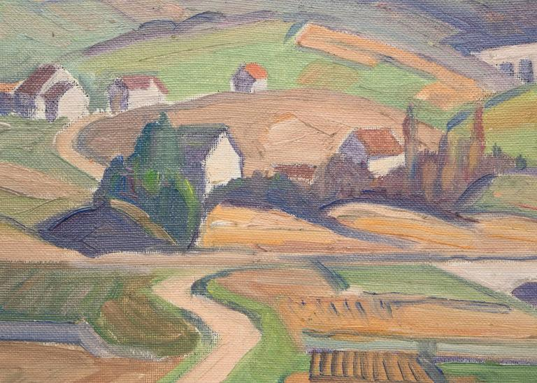Untitled (Village, Switzerland/France Border) - Brown Landscape Painting by Carl Lindin