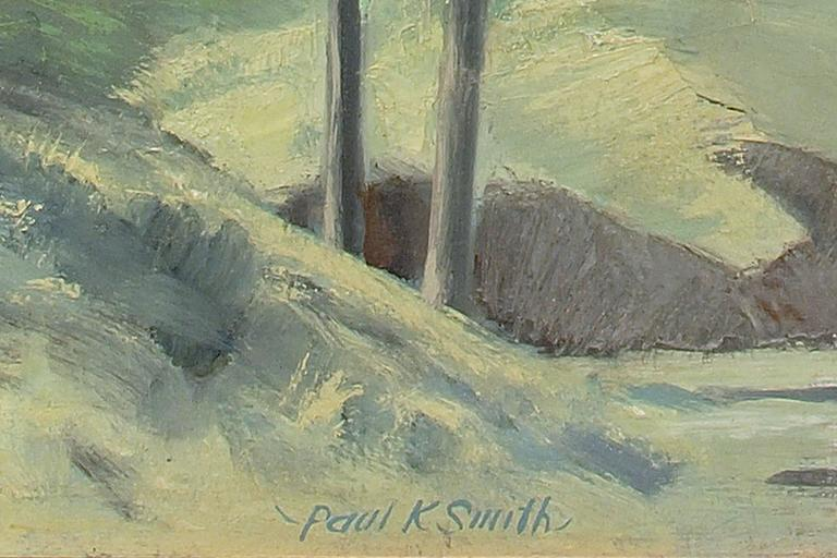 Untitled (Colorado Hill Town) - Gray Landscape Painting by Paul Kauver Smith