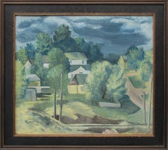 Untitled (Colorado Hill Town with Storm Clouds, Modernist Regional Painting)