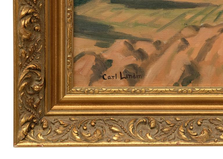 Untitled (Ojai, California) - Brown Landscape Painting by Carl Lindin