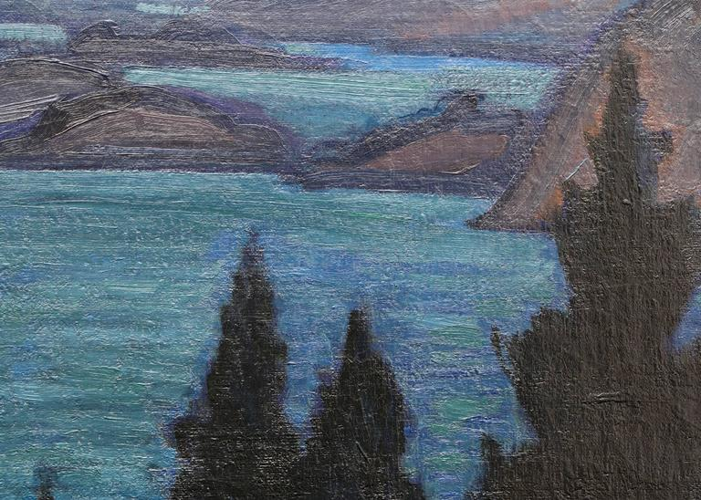 Fjords - Black Landscape Painting by Carl Lindin