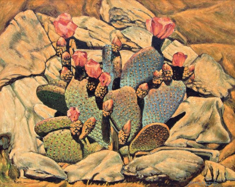 Flowering Cactus - Painting by Frank J. Gavencky