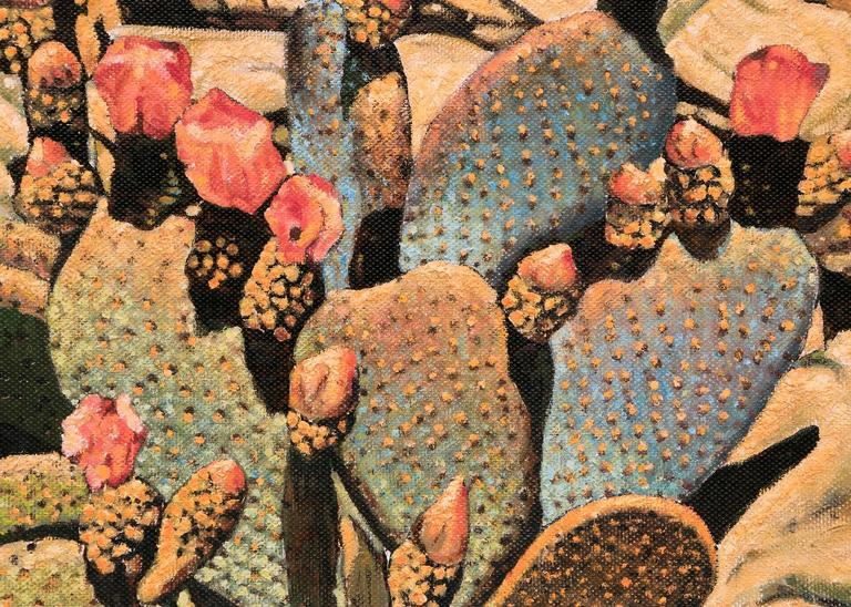 Flowering Cactus - American Modern Painting by Frank J. Gavencky