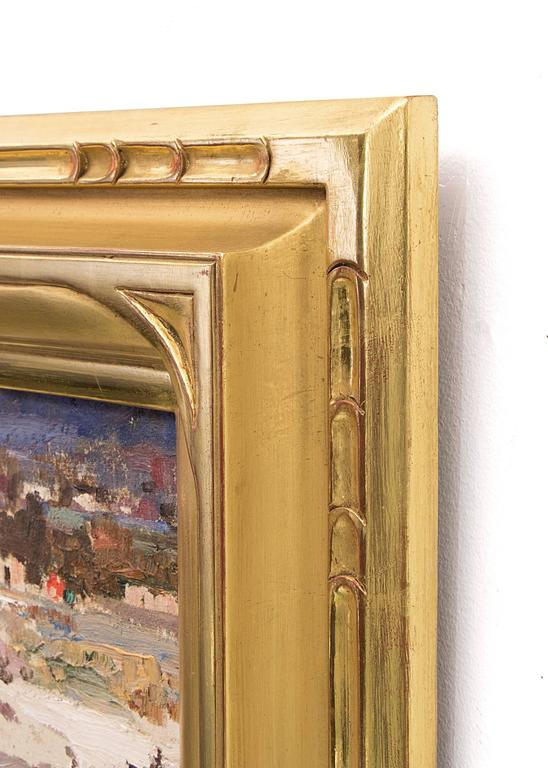 Oil on raw silk mounted on canvas board.  Housed in a custom hand-carved gold leaf frame.  Outer dimensions measure 18 ¼ x 21 ½ x 1 ½  inches.  Image size is 11 x 14 inches.  Fremont Ellis grew up in the mining town of Virginia City, Montana. His