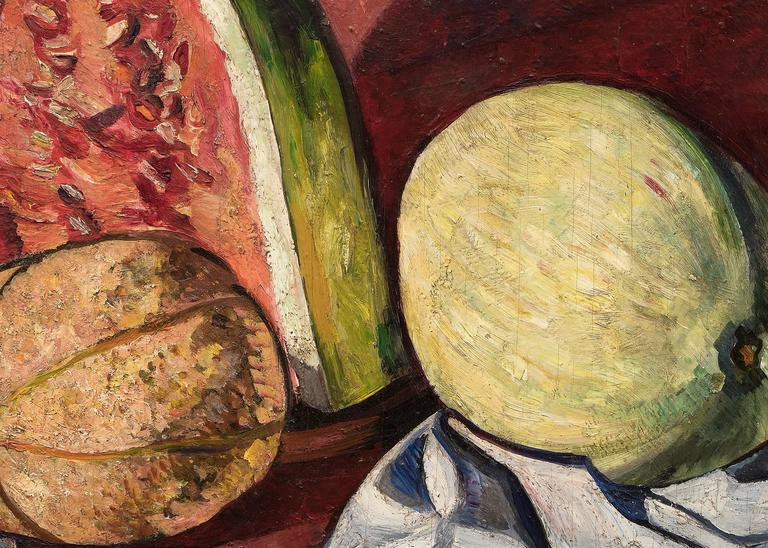 Still life with melons, original oil painting by Hayley Lever (1876-1958).  A still life painting of melons in golds and greens with a red background and blue/white drape.  Presented in a custom hand-carved gold leaf frame, outer dimensions measure