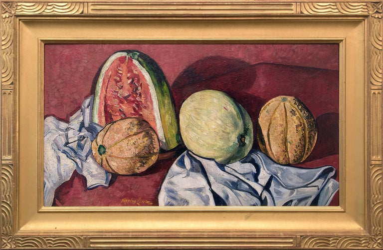 Richard Hayley Lever Still-Life Painting - Melons (Still Life Painting of Melons - Red Background) Custom Gold Leaf Frame